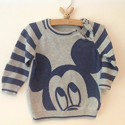 Disney at George Boy's Long Sleeved Mickey Mouse Grey/Blue Jumper 6-9 Months