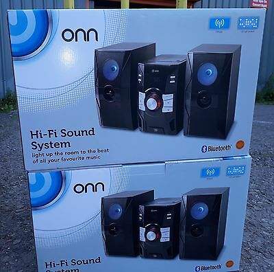 Onn HiFi Bluetooth Sound System With Disco LED Light Speakers-Brand New