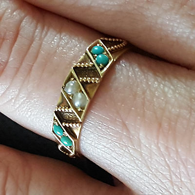 1876 Victorian Era 15ct Gold Ring Set with Turquoise and Seed Pearls