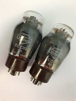 Ecc32 Vintage Mullard Brown Base Matched Pair Nos Valve/tube