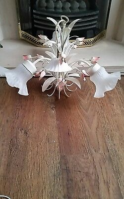 A stunning 3 Arm Vintage Italian made Toleware Chandelier Light With Shades