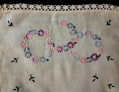 "Old Vintage Hand Embroidered Linen Runner Lace Decorated, 40"" x 15"""