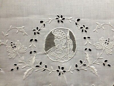Antique Large Tea Towel Hand made Embroidery, Insert Cutwork Scalloped Edges