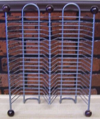 Grey/Silver Metal Wire CD Rack Holds w/ Brown Wood Feet Holds 40 CD's