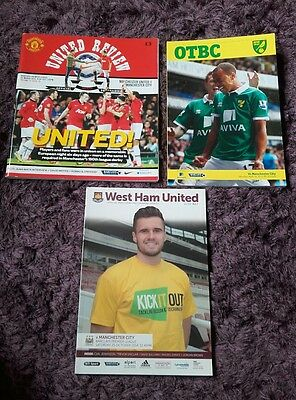 3 Manchester City away programmes13/14 & 14/15 seasons - see listing for details