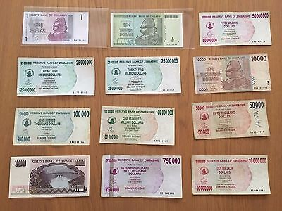 12 X ZIMBABWE Banknotes Inc UNC $10 Trillion And $1 notes