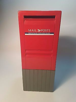 Red Plastic Canada Post Mailbox Coin Piggy Bank