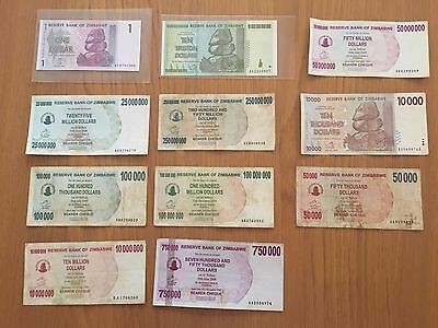11 X ZIMBABWE Banknotes Inc UNC $10 Trillion And $1 notes