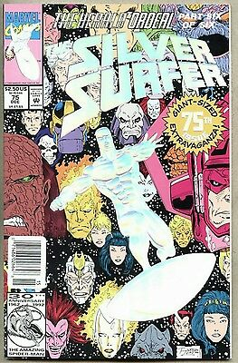 Silver Surfer #75-1992 nm deluxe Foil cover Ron Lim w/ variant barcode