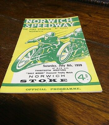 RARE 1939 Norwich Speedway Programme July 8th