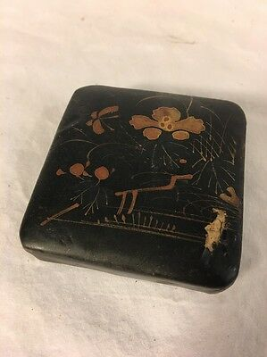 Antique Japanese Small Paper Mache Lacquered Box Gold Accents and Painting Nice