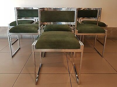 Dining Chairs by Willy Rizzo 70s Vintage Set of 8 Luxury Italian Side Chairs