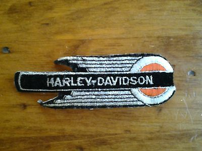 Harley Davidson Black Silver and Orange Embroidered Patch Rare