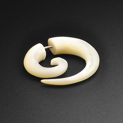 Solid Genuine Mother Of Pearl Fake Gauge Spirals | Faux Ear Stretcher Hangers