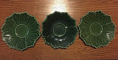 "Woodfield By Steubenville Set Of 3 Green 6 1/2"" Saucers - Free Shipping"
