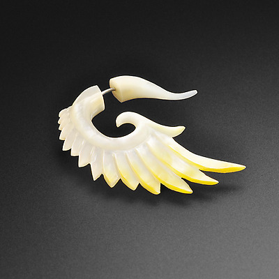 Solid Genuine Mother Of Pearl Fake Gauge Angel Wings | Faux Ear Stretcher Hanger