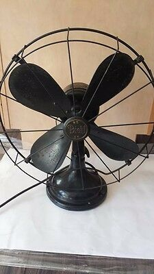 "Antique Diehl Fan 16"" Oscillating Art Deco Industrial Vintage Black Metal Fan"