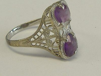 Antique 10 K White Gold Filigree Amethyst Ring, Size 6