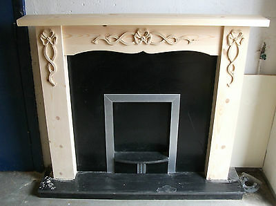 "Solid Pine  ""bow Set ""fire Surround With Carved Motiffs"