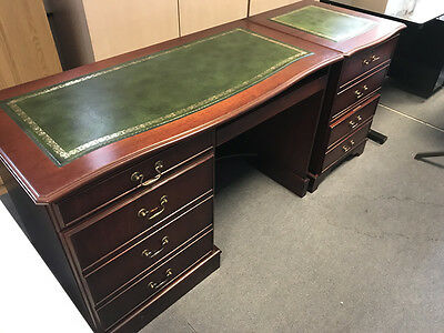 Mahogany Contemporary Reproduction Desk and separate pedestal