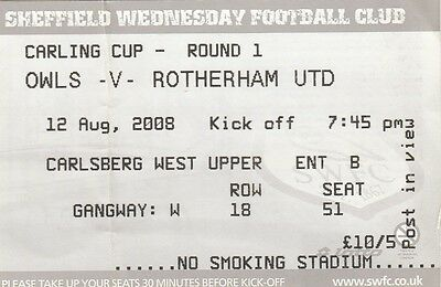 Ticket - Sheffield Wednesday v Rotherham United 12.08.08 League Cup