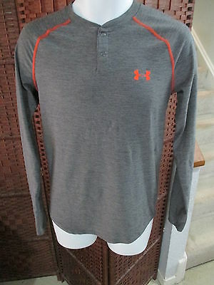 Men's Under Armour Long Sleeve Fitted Shirt Button Top Size Small Coldgear