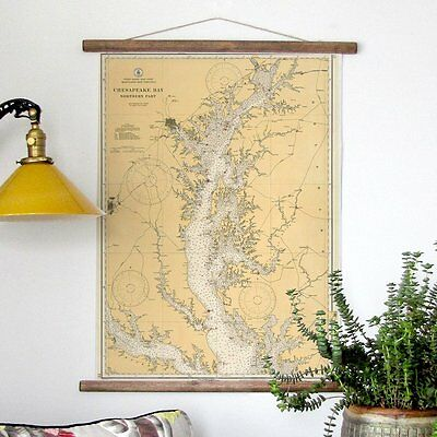 Annapolis and  the Northern Chesapeake Vintage Style Nautical Chart Scroll New