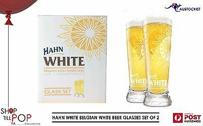 Hahn White Belgian Style Etched Beer Glasses twin pack 345ml BNIB MAN CAVE Party