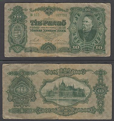 Hungary 10 Pengo 1929 (VG) Condition Banknote P-96