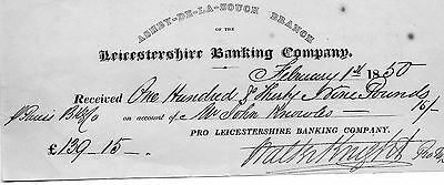 Leicestershire Banking Co. Receipt-For February 1St. 1850.