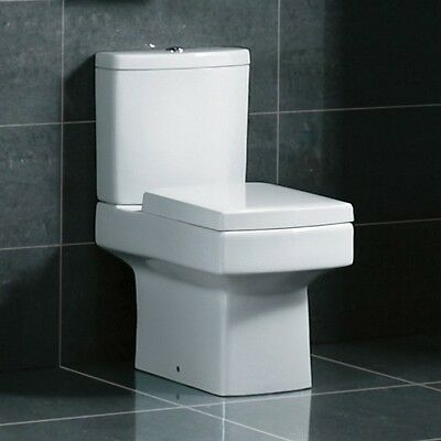 Modern White Ceramic Square Toilet Close Coupled Bathroom Pan & Seat WC(VR-1011)