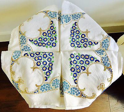 Vintage Heavily Embroidered Linen Table Cloth Prolific Blue Flowers