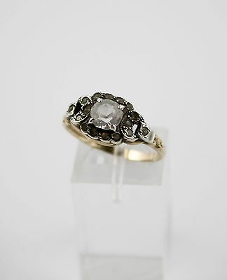 Vtg Art Deco Clarks and Comb 1/20th 14K RGP and Sterling Rhinestone Ring Size 9