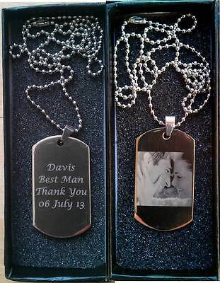 Personalised Engraved Photo/Text Stainless Steel Army Dog Tag ID Tag Gift Bag