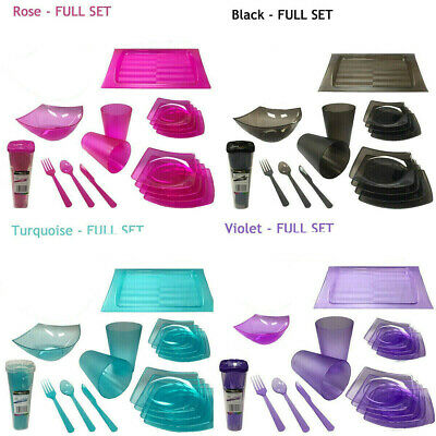 Reusable Picnic Party Set BBQ Plastic Diningware Cutlery Christmas Dinner Party