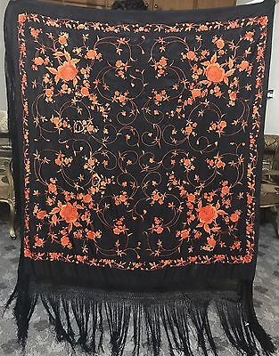 """Antique Chinese Hand Embroidered  Piano Shawl Pure Silk 60"""" By 62"""" Fringe 18"""""""