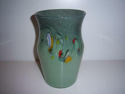 SCOTTISH STRATHEARN ART GLASS VASE GREEN WITH MULTICOLOURED INCLUSIONS c.1970's