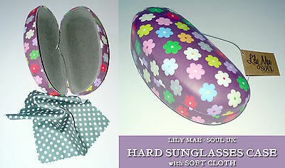 HARD SUNGLASSES CASE +CLEANING CLOTH Grape Flowers TRAVEL BAG GIFT Lily Mae SOUL