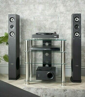 MMT Hi Fi stand 4 shelf clear glass hi-fi rack unit with chrome legs for AV