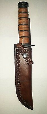 KA-BAR U.S.M.C. Fighter Leather Custom Sheath Knife Not Included