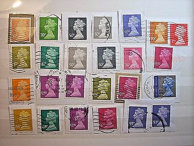 Modern Decimal Machin Lot With Higher Values Used On Paper