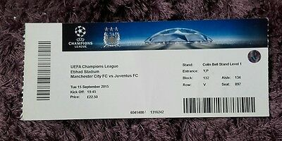 Manchester City Champions league ticket stub v Juventus 15/16