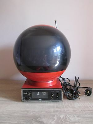 RARE VINTAGE 1970s TELEVISION JVC VIDEOSPHERE WITH CLOCK BASE SPACE AGE