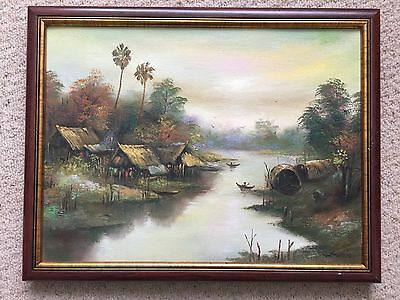 Oil Painting 'Eastern Domestic River Scene' Signed Original