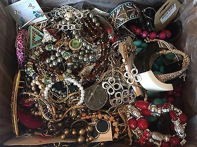 10 LBS Fashion Costume Jewelry Huge Lot - Box Full Of Necklaces Bracelets Etc