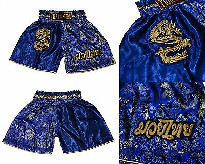 Kids Boxing Shorts Muay Thai Fighting satin trunks MMA childrens dragon blue