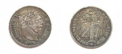 George Iii 1818 Silver Maundy Fourpence