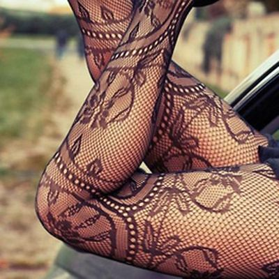 Hollow Out Sheer Mesh Pantyhose Tattoo Lace Tights Stockings Fishnet