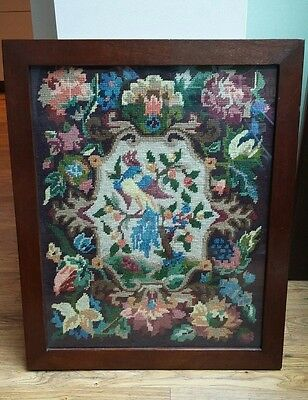 Large Beautiful Vintage Tapestry Needlepoint Embroidered Frame Picture Heavy