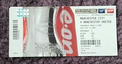 Manchester City FA Cup semi final ticket stub v Manchester United 2010/11